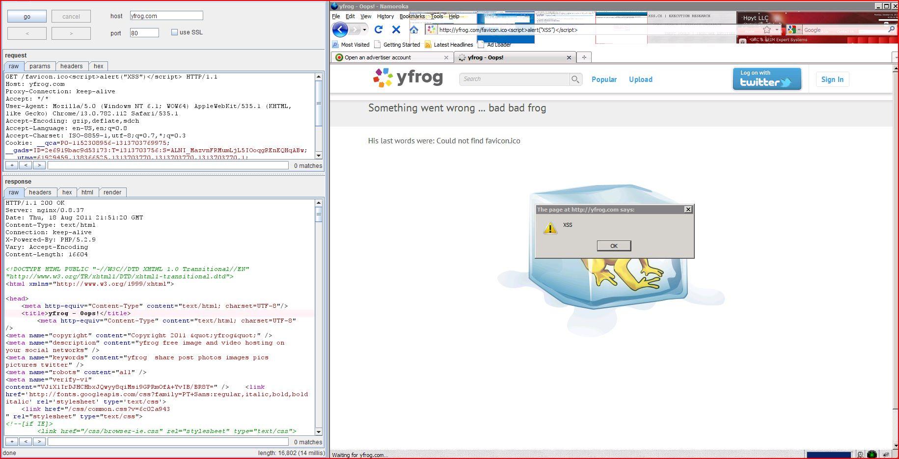 XSS in yfrog.com, XSS, DORK, GHDB, Cross Site Scripting, CWE-79, CAPEC-86