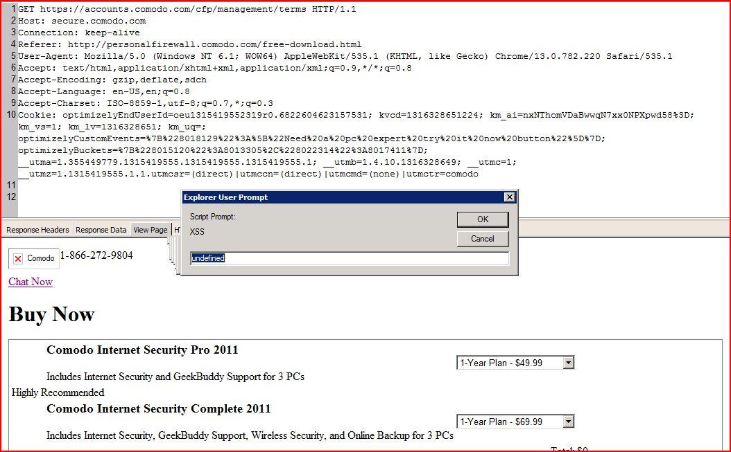 XSS in secure.comodo.com, XSS, DORK, GHDB, Cross Site Scripting, CWE-79, CAPEC-86