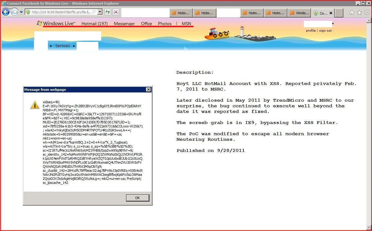 XSS in profile.live.com, XSS, HOTMAIL, DORK, GHDB, Cross Site Scripting, CWE-79, CAPEC-86