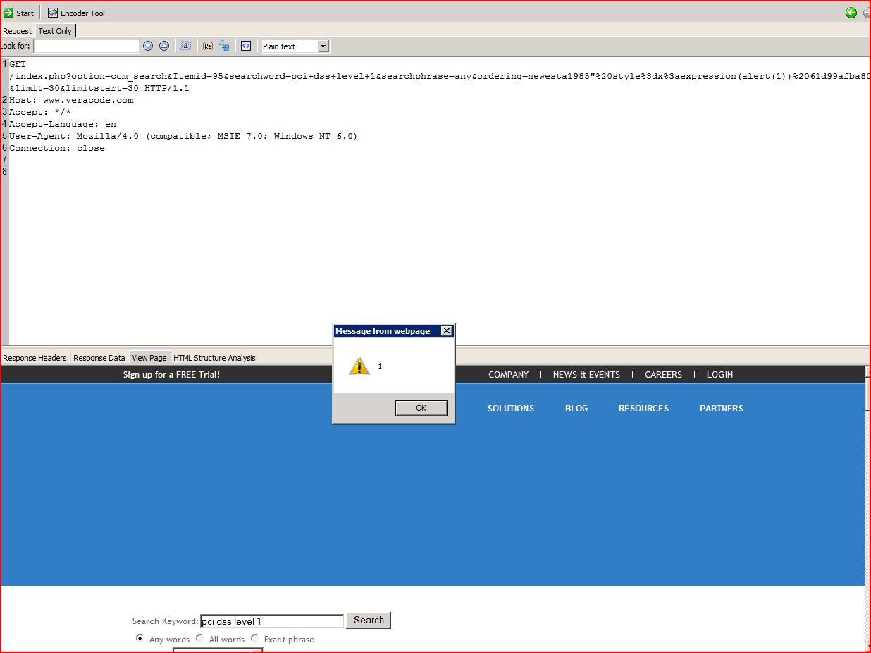 XSS in veracode.com, XSS, DORK, GHDB, Cross Site Scripting, CWE-79, CAPEC-86