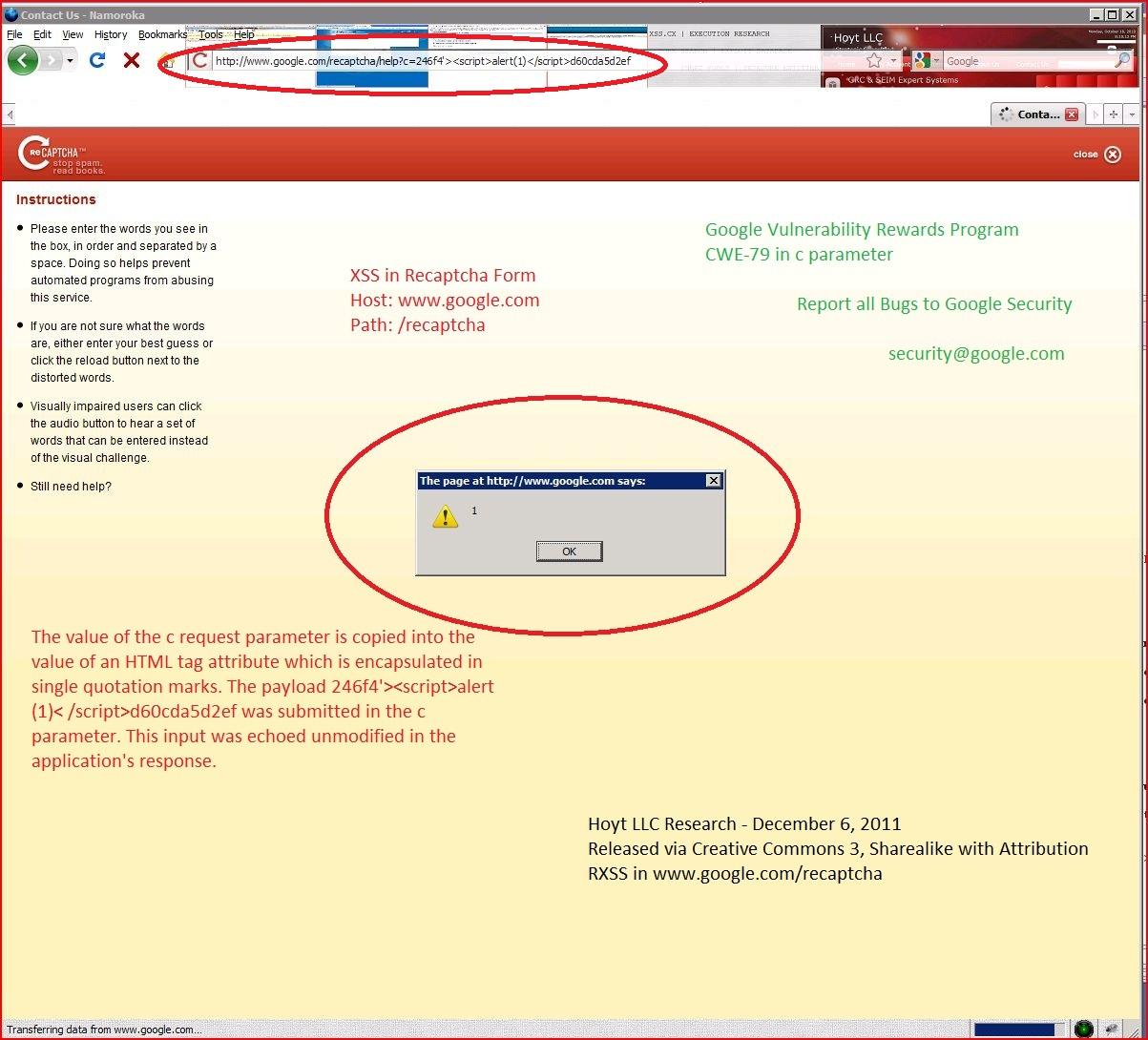 XSS in google.com, XSS, DORK, GHDB, Cross Site Scripting, CWE-79, CAPEC-86, Recaptcha Form
