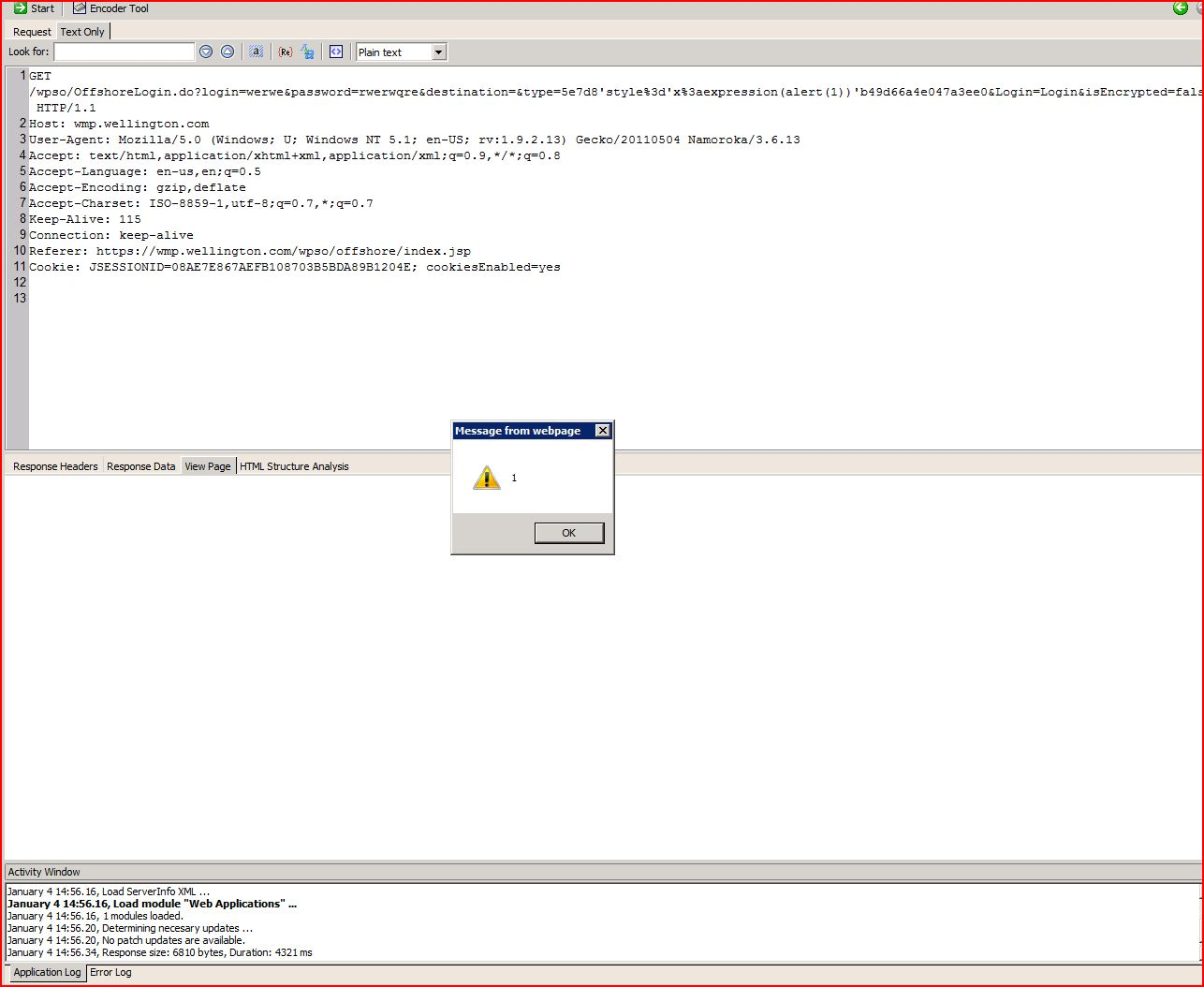 XSS in wmp.wellington.com, XSS, DORK, GHDB, Cross Site Scripting, CWE-79, CAPEC-86