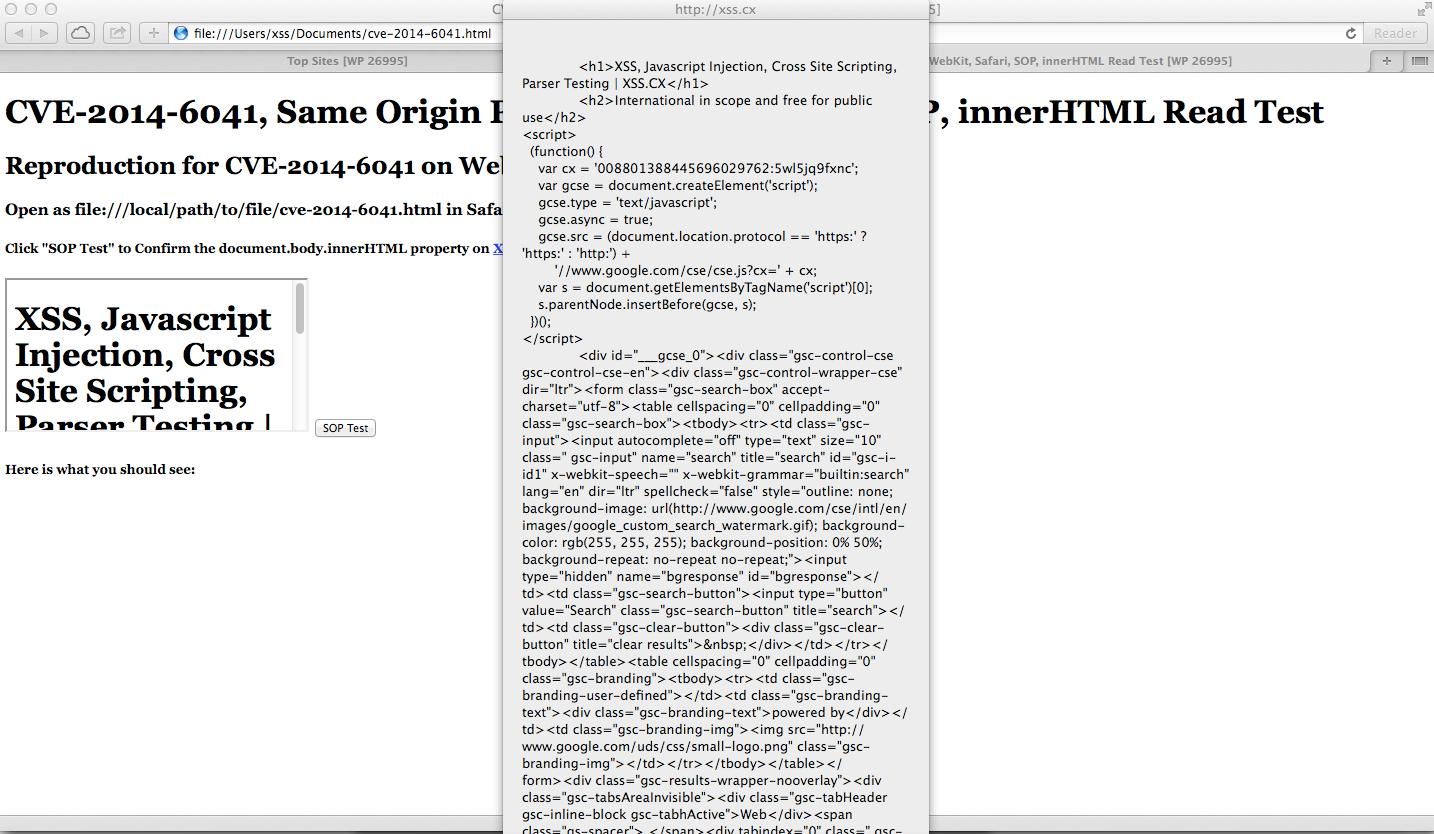 CVE-2014-6041, Same Origin Policy, SOP, WebKit, Safari 7, SOP, innerHTML Read Test, xss.cx