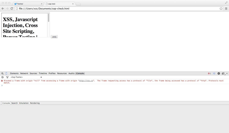 CVE-2014-6041, Same Origin Policy, SOP, Chrome 37, SOP, innerHTML Read Test, xss.cx