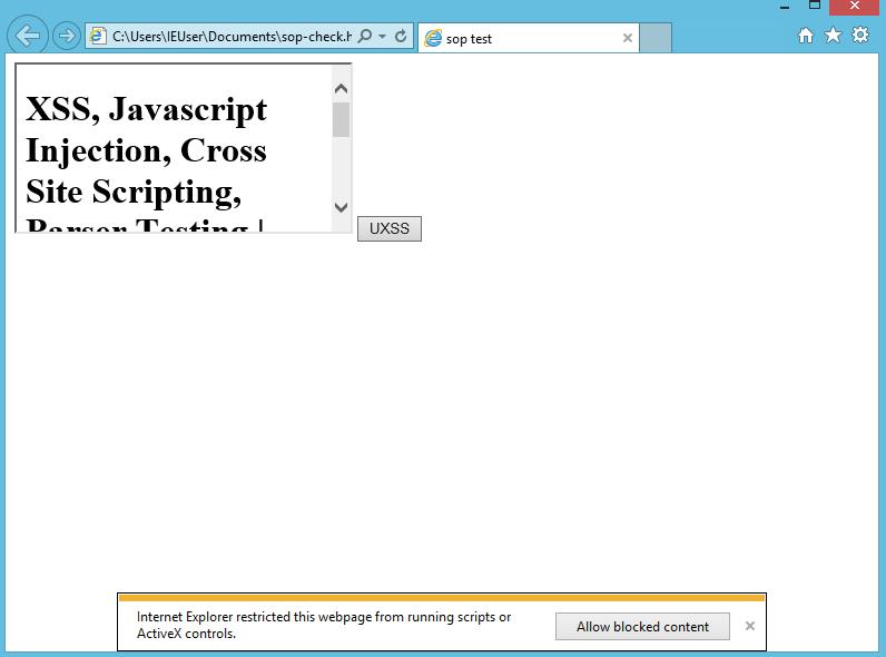 CVE-2014-6041, Same Origin Policy, SOP, IE11, SOP, innerHTML Read Test, xss.cx