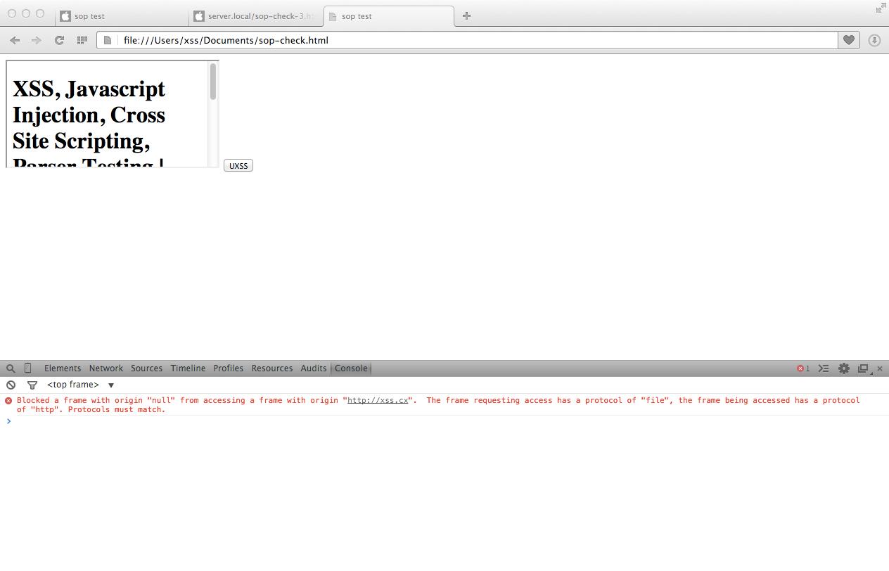 CVE-2014-6041, Same Origin Policy, SOP, Opera, SOP, innerHTML Read Test, xss.cx