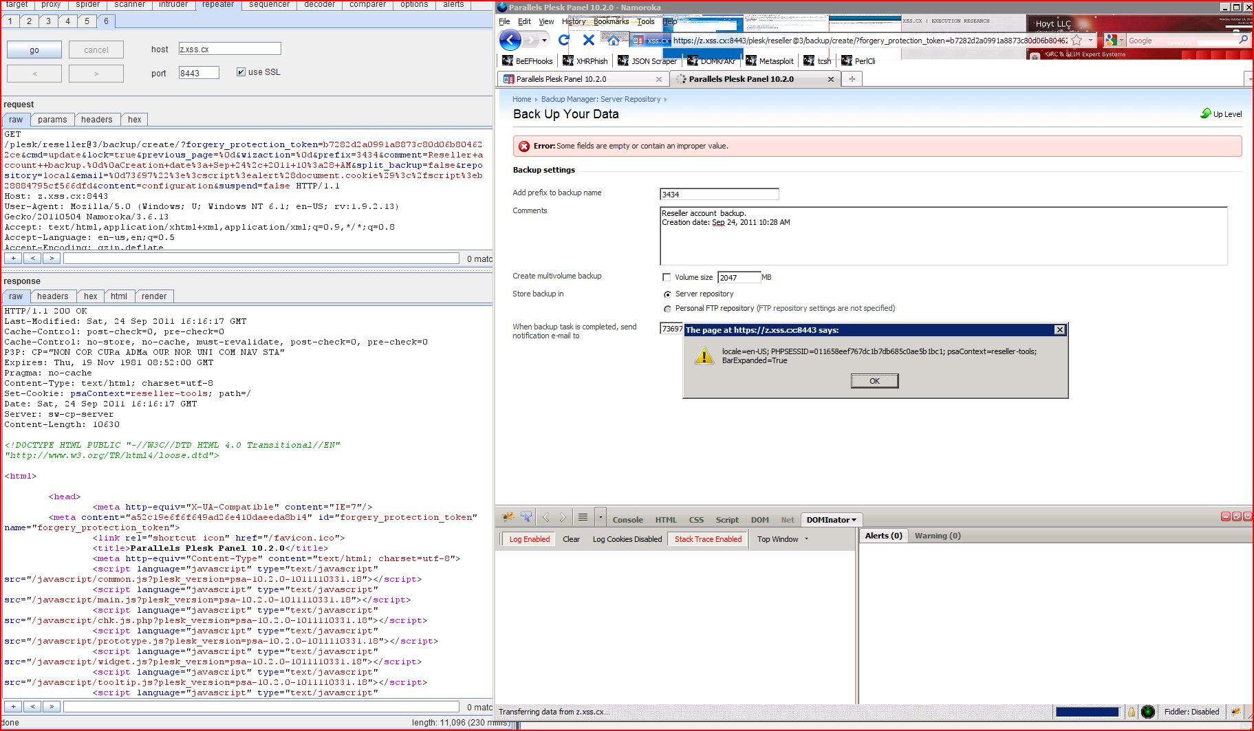 Plesk Parallels Panel Cross Site Scripting Sql Injection Packet